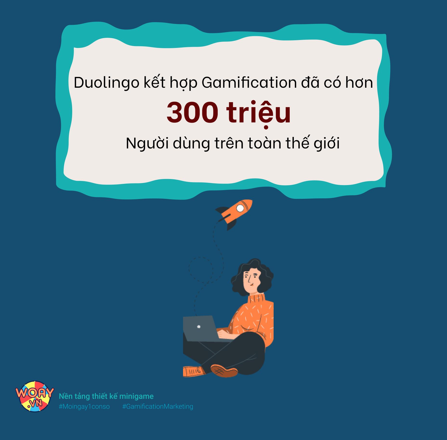 Nền tảng Duolingo kết hợp Gamification, có hơn 300 triệu người dùng trên toàn thế giới